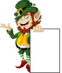 Happy Leprechaun with blank sign