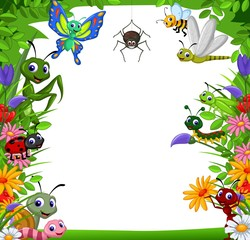 cute collection of insects in the flower garden