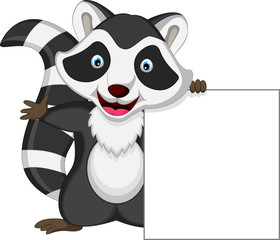 raccoon cartoon posing with blank sign