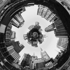Abstract 3d City Planet inside City tunnel