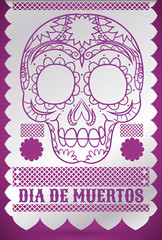 """Traditional Tissue Paper Decoration with Skul for """"Dia de Muertos"""", Vector Illustration"""