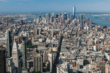An aerial view of Manhattan's skyscrapers.