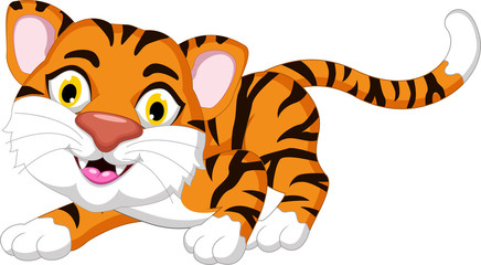 Cute tiger cartoon posing for you design