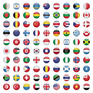 Set of circle flag icons vector illustration