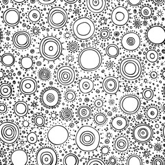 Vector abstract black and white background. Seamless hand drawn circles pattern. Background for use in design, web site, packing, textile, fabric