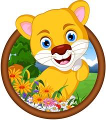 female lion cartoon in frame