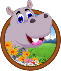 hippo cartoon in frame