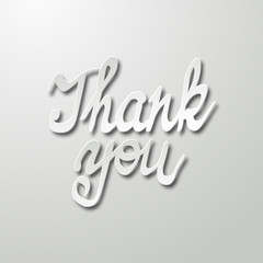 Thank You handwritten inscription. Hand drawn lettering. Calligraphy greeting card.