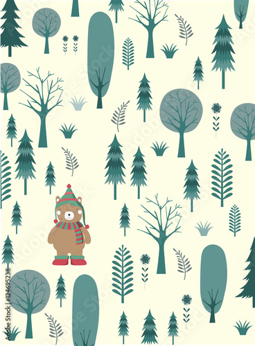 Cute Merry Christmas Background With Cute Bear And Christmas