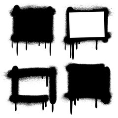 Spray paint graffiti grunge frames, banners vector