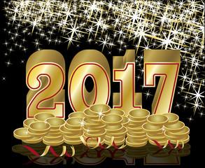 Golden coins New 2017 Year banner, vector illustration