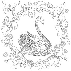Hand drawn decorated swan into circle in ethnic style