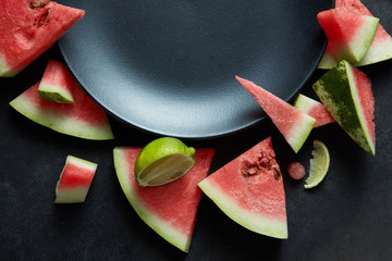 Watermelon slices on a black plate