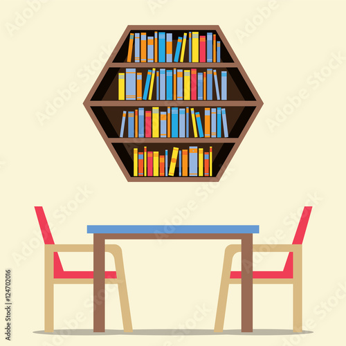 Chairs And Table With Hexagon Bookshelf On Wall Vector Illustration