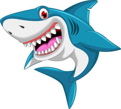 angry shark cartoon jumping