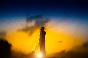 Fototapeta silhouette of fisherman.