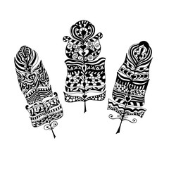 Set of ethnic vintage tribal feathers