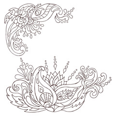 Henna tattoo doodle vector elements.