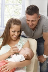 Family with newborn baby