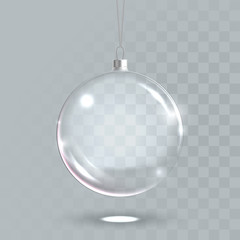Transparent christmas glass ball 3D vector isolated