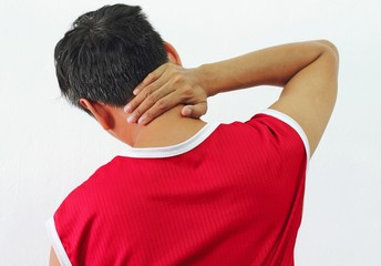 Adult man with neck pain