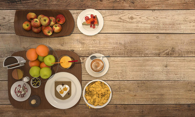 3d rendering nice colorful breakfast consist of bread and fruit and coffee and milk on wooden table