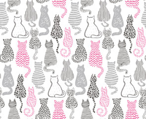 Vector seamless pattern with hand draw textured cats