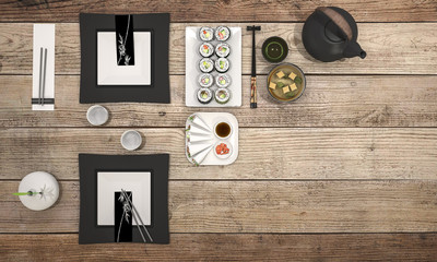 3d rendering sushi plate with black bowl soup on dining table