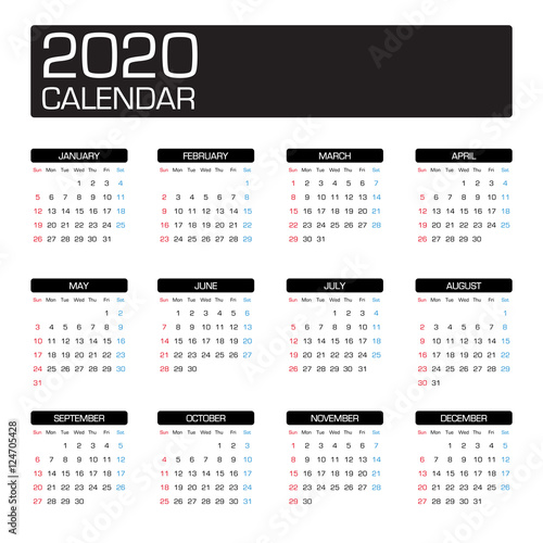 """2020 year calendar template"""" Stock image and royalty-free vector ..."""