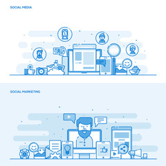 Flat line color concept- Social Media and Social Marketing