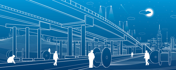 Architectural and infrastructure illustration, people are working, automotive overpass, highway. Urban scene, industrial landscape, large coil. Night city on background, vector lines design art