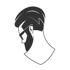 Man with beard hipster barbershop vector emblem