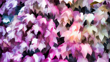 Pink colored leaves of autumn Autumn background, Colors of Fall