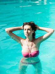 pretty sexy woman in swimming pool
