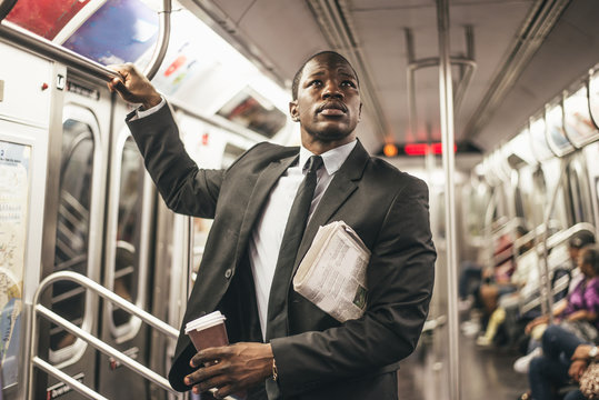 Business man in the subway