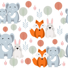 Cute vector animal seamless pattern with elephant, fox, rabbit on white background