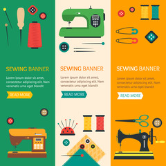 Sewing Banner Flat Design Style. Vector