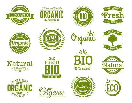 Retro style set of 100% bio, natural, organic, eco, healthy, premium quality food labels. Logo templates with vintage elements in green color for identity, packaging. Set of vector badges.