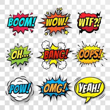 Vector comic speech bubbles set with words