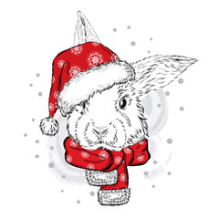 Funny rabbit in Christmas hat. Vector illustration. Christmas and New Year.