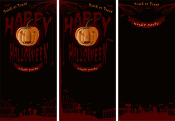 Halloween design set. Happy Halloween. Trick or treat. Jack-o'-lantern on a background of cemetery