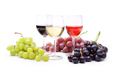 Red, rosé and white wine, with bunches of grapes