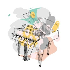sketch grand piano on a white background with blots