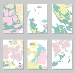 Collection of creative trendy cards. Abstract painting templates.