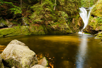 Szklarka Waterfall in Karkonosze mountains, near Szklarska Poreba in Poland.
