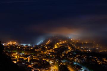 Fog in the night city.