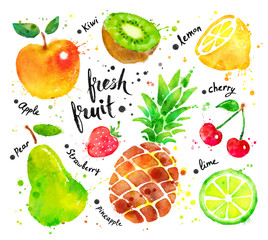 Watercolor set of fruit