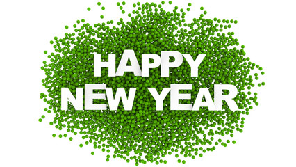 Text design of happy new year. Colorful background. 3d Illustration.