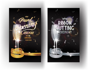 Grand opening gold and silver vertical banners with confetti, glasses of champagne and sparkling ribbons
