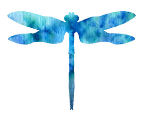 color watercolor silhouette of dragonfly